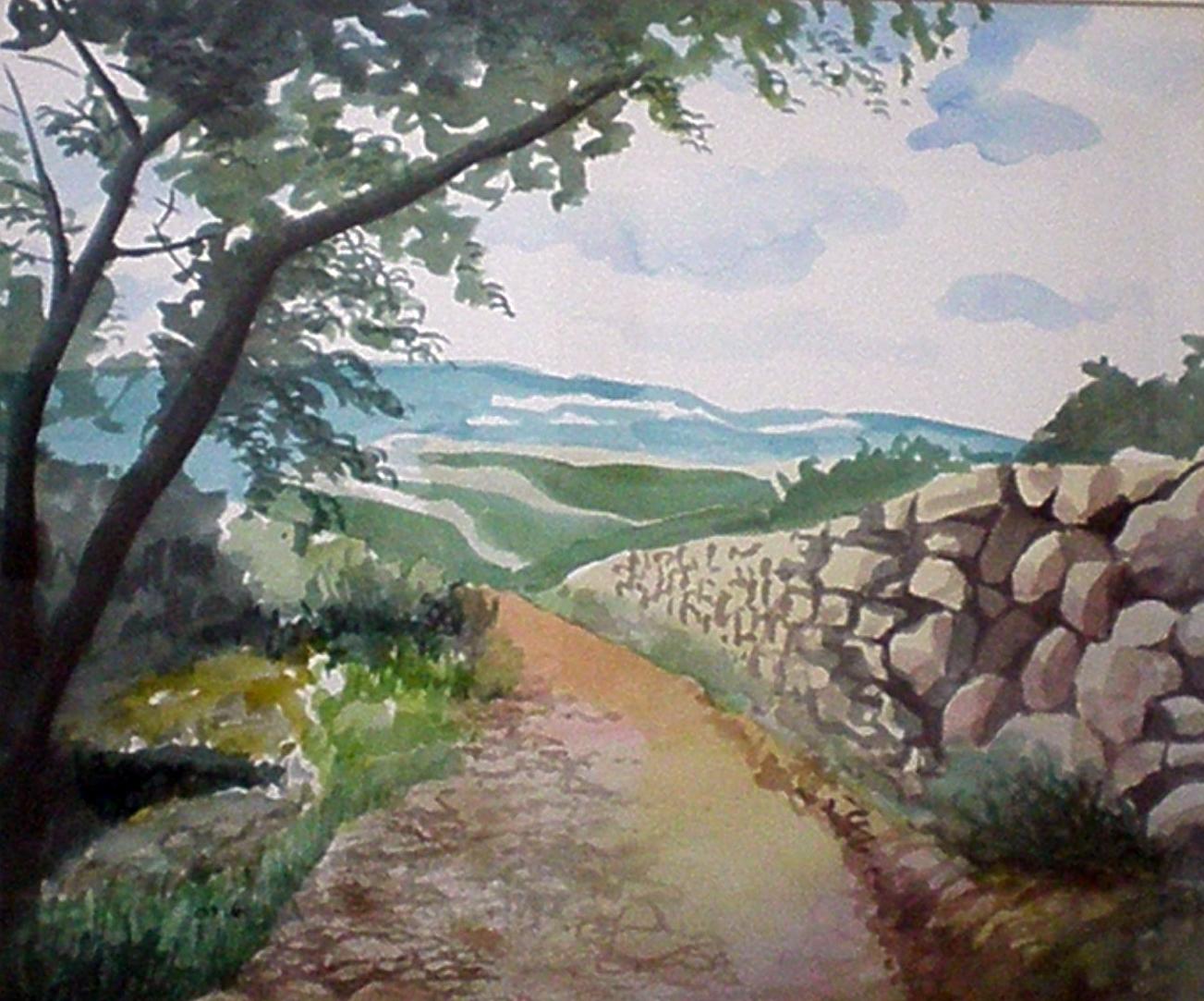 """""""עומדות היו רגלנו"""" - הרי ירושלים - תמונת אקורל מאת אסתי הס"""