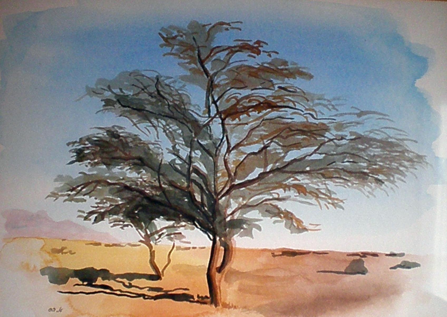 על הדרך עץ עומד - תמונת אקוורל מאת אסתי הס