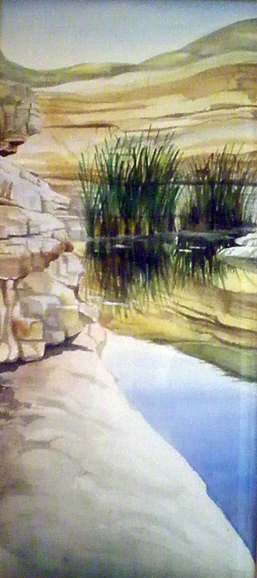 כאפיקים בנגב - עין עבדת - תמונת אקורל מאת אסתי הס