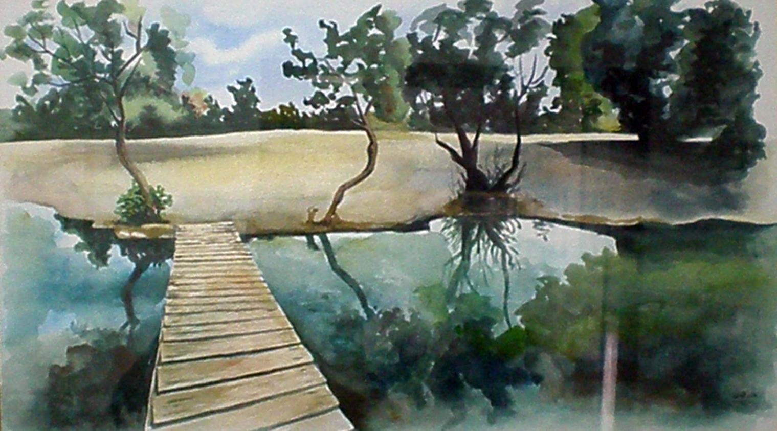 עינות צוקים - תמונת אקורל מאת אסתי הס